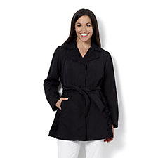 Dennis Basso Water Resistant Trench Coat with Lace Trim