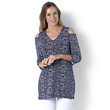 Mosaic Print Cold Shoulder Top by Michele Hope