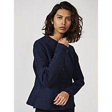 Isaac Mizrahi Live Knit Ottoman Jacket with Back Fluted Detail