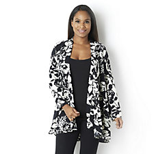 Yong Kim Crepe De Chine Printed Edge to Edge Cardigan