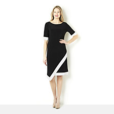 Tiana B Colour Block Jersey Dress with Contrast Banding & Asymmetric Hem