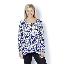 Artscapes Rose Print Tunic with Dipped Hem