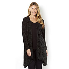 Rose Embellished Sparkle Fabric Long Sleeve Cardigan by Michele Hope