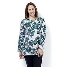 Denim & Co. Floral Print Round Neck Jersey Tunic