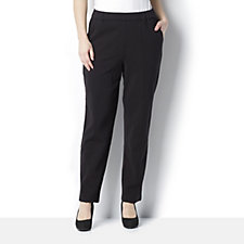 Bob Mackie Ponti Knit Pull On Trousers with Front Seam Detail