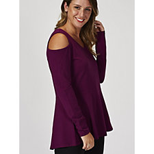 Isaac Mizrahi Live Long Sleeve Cold Shoulder Peplum Tunic