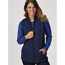 Denim & Co. Solid Gilet & Striped Scoop Neck Top Set