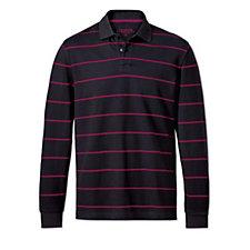 Charles Tyrwhitt Mens Stripe Pique Long Sleeve Polo