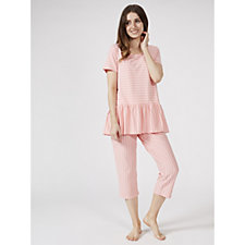 ModernSoul Short Sleeve Stripe Loungwear Capri Set