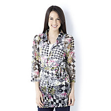 Sequined Floral Diamond Lace Detail Shirt with Tie Belt by Michele Hope