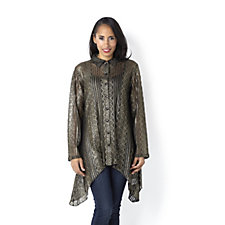 Lurex Lace Side Dip Hem Shirt by Michele Hope