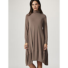 MarlaWynne Luxe Crepe Turtle Neck Balloon Dress