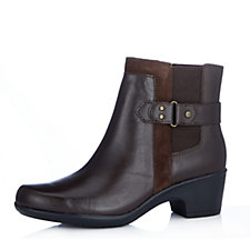 Clarks Malia Maui Leather Ankle Boot With Suede Trim