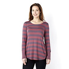 LOGO by Lori Goldstein Stripe Viscose Tunic w/ Contrast Sides and Cuffs