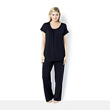 157953 - Midnight Modal PJ Set with Satin & Stitched Trim by Carole Hochman