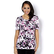 Kim & Co Photographic Pansy Brazil Knit Short Sleeve Top