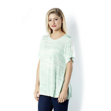 Fashion by Together Melange Knit Top with Lace Trim Detail