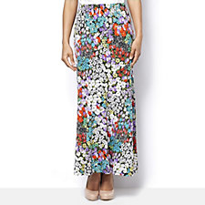 Kim & Co Clustered Floral Brazil Knit Maxi Skirt