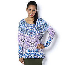 Artscapes Butterfly Round Neck Top with Hi Lo Hem