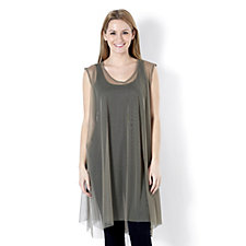 Join Clothes Sleeveless Tulle Mesh Overlay Tunic