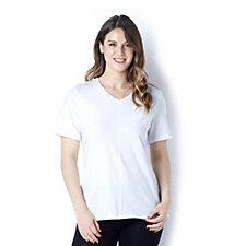 Denim & Co. Short Sleeve V Neck Top