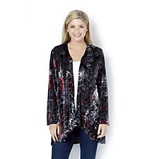 Floral Velvet Edge To Edge Cardigan by Michele Hope