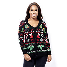 Absolutely Famous Christmas Jaquard Pattern Cardigan