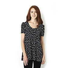 Kim & Co Brazil Knit Multi Dots Short Sleeve Tunic