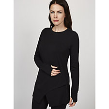 Anybody Cozy Knit Jersey Long Sleeves Crossover Top