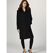Helene Berman Concealed Button Front Coat with Faux Fur Collar