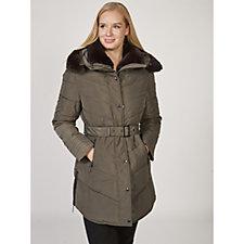 Rino & Pelle Faux Fur Trim Padded Coat