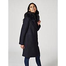 Centigrade Removable Faux Fur Collar Boucle Coat