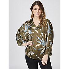 Nick Verreos Feather Print V Neck Blouse