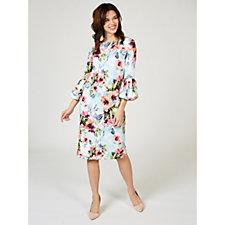 Ronni Nicole 3/4 Sleeve Printed Scuba Crepe Dress