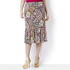 Kim & Co Wildflower Patchwork Print Ruched Flounce Hem Skirt