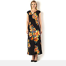 Tiana B Cap Sleeve Floral Print Maxi Dress