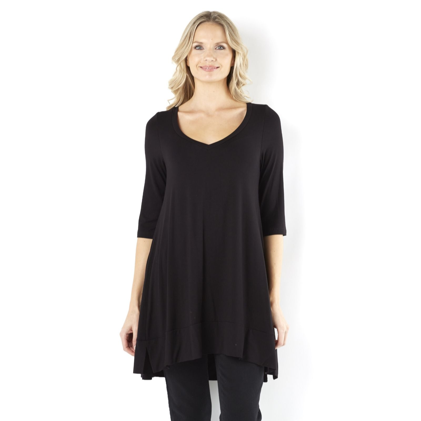 Join Clothes Jersey Scoop V Neck Tunic with Dip Back