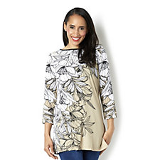 3/4 Sleeve Placement Print Round Neck Tunic by Susan Graver