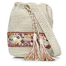 The Sak Roots Artist Circle Crochet Drawstring Bag