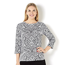 Artscapes Aztec Print 3/4 Sleeve Round Neck Top