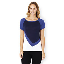 Marble Cap Sleeve Colour Block Fitted Jumper