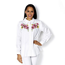 Bob Mackie Floral Embroidered Denim Shirt