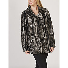 Rino & Pelle Textured Swirl Faux Fur Coat