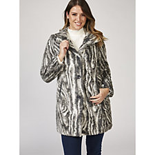 Centigrade Chevron Faux Fur Coat