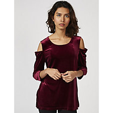 Ronni Nicole 3/4 Sleeve Velvet Cold Shoulder Top