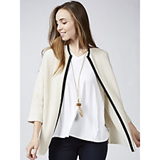 MarlaWynne Ottoman Stitch Jacket with Tipped Detail