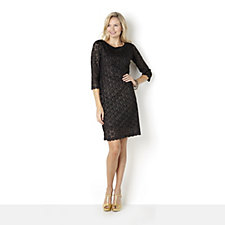 Ronni Nicole 'O So Slim' Glitter Lace Scalloped Edge 3/4 Sleeve Dress