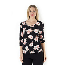 155755 - Kim & Co Soft Roses Brazil Knit 3/4 Sleeve Top