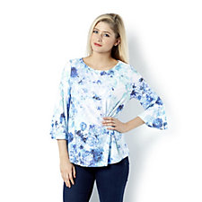Fashion by Together Printed Top with Fluted Sleeves