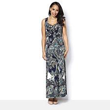 Kim & Co Elegant Paisley Brazil Knit Sleeveless Maxi Dress